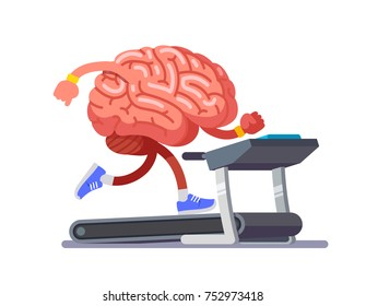 Brain working out on a treadmill education. Work on yourself. Modern flat style thin line vector illustration isolated on white background.