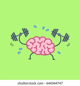 Brain workout. Vector concept illustration of hard working sweating brain with two dumbbells | flat design linear infographic icon on green background