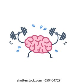 Brain workout. Vector concept illustration of hard working sweating brain with two dumbbells | flat design linear infographic icon colorful on white background