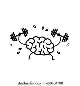Brain workout. Vector concept illustration of hard working sweating brain with two dumbbells | flat design linear infographic icon black on white background