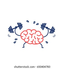 Brain workout. Vector concept illustration of hard working sweating brain with two dumbbells | flat design linear infographic icon red and blue on white background