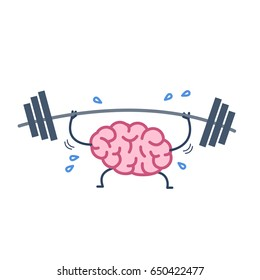 Brain workout. Vector concept illustration of hard working sweating brain with barbell in gym | flat design linear infographic icon colorful on white background