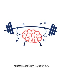 Brain workout. Vector concept illustration of hard working sweating brain with barbell in gym | flat design linear infographic icon red and blue on white background