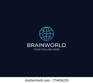 Brain World Logo Template. Circuits Vector Design. Artificial Intelligence Illustration