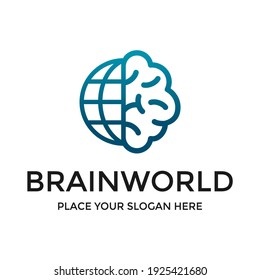 Brain world vector logo template. This design use think idea symbol. Suitable for education or business.