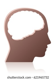 Brainless, mindless, unintelligent, silly, stupid person, symbolized by a head with a big empty hole instead of a brain  - isolated vector illustration on white background.