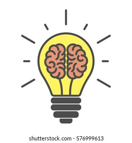 Brains In Lightbulb On White Background. Isolated Icon Is Symbol Of Idea,  Brainsorm And Amazing Design