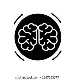 Brainstorm black icon, concept illustration, vector flat symbol, glyph sign.