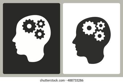 Brainstorm - black and white icons. Vector illustration.