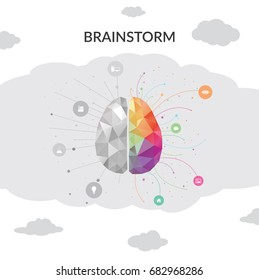 Brainstorm Brain in clouds concept. Vector illustration