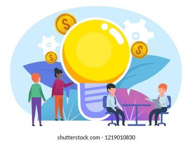 Brainstorm, business idea, startup concept. People stand near big idea light bulb. Poster for social media, banner, web page, presentation. Flat design vector illustration
