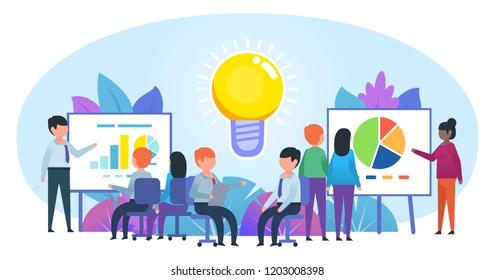 Brainstorm, business office work. People work in office near big idea light bulb. Poster for social media, banner, web page, presentation. Flat design vector illustration