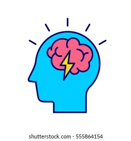 Brainstorm concept. Business and education idea, innovation and solution icon.