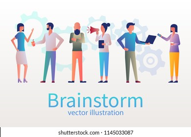 Brainstorm concept, business meeting. Group of young people met for the conference. Creative people. Teamwork colleagues. Vector illustration flat design. Isolated on background. Search new solutions.