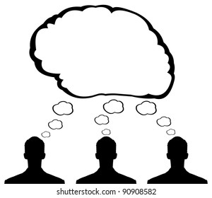 Brainstorm concept. Business people silhouettes at meeting place in office brainstorming ideas and creating a cloud in shape of brain. Easy editable layered vector illustration.