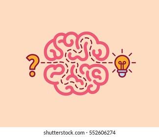 Brainstorm concept idea. Innovation and solution, vector illustration.