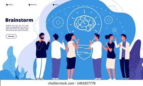 Brainstorm concept. Professionals launching creative project, brainstorming. Startup innovation teamwork business vector landing page