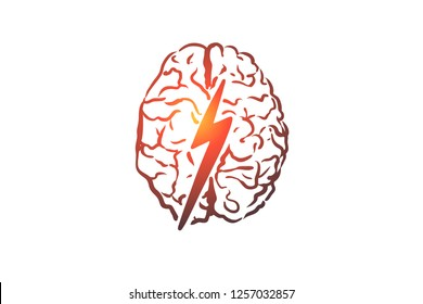 Brainstorm, creative, brain, mind, power concept. Hand drawn human brain and thunder concept sketch. Isolated vector illustration.