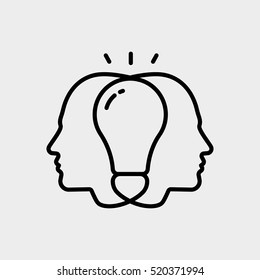 Brainstorm Creative Collective Thinking Idea Man User Minimalistic Flat Line Outline Stroke Icon Pictogram Symbol