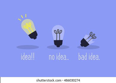 Brainstorm creative concept: good and bad Ideas / flat vector illustration