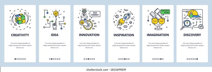 Brainstorm creative solution development. Business innovation idea, imagination inspiration. Mobile app screens. Vector banner template for website and mobile development. Web site design illustration