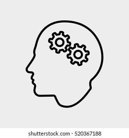 Brainstorm Creative Thinking Idea Man User Minimalistic Flat Line Outline Stroke Icon Pictogram Symbol