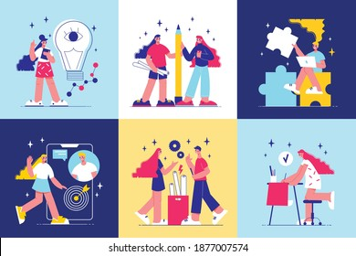 Brainstorm design concept illustrated new generation of young people engaged in creating modern projects and implementing new ideas vector illustration