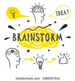 Brainstorm doodle elements. Cartoon  illustration for your design.