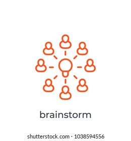 brainstorm, group creativity line icon