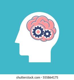 Brainstorm illustration. Thinking process and brain activity concept. Flat design.