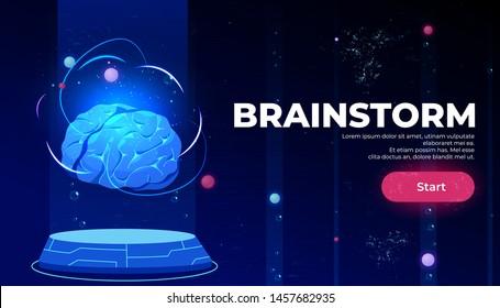 Brainstorm landing page, artificial intelligence technologies, glowing human brain levitate on antigravity platform on neon glowing futuristic background, Cartoon vector illustration, web banner