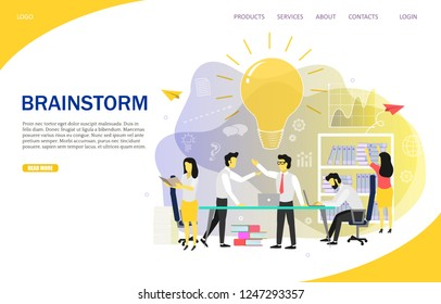 Brainstorm landing page website template. Vector flat illustration. Group of employees suggesting new creative ideas while working on business project or startup. Brainstorming business team.