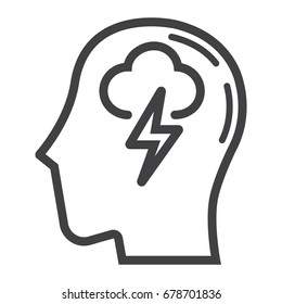 Brainstorm line icon, business and idea, vector graphics, a linear pattern on a white background, eps 10.