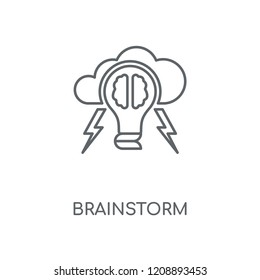 Brainstorm linear icon. Brainstorm concept stroke symbol design. Thin graphic elements vector illustration, outline pattern on a white background, eps 10.