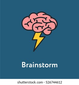 Brainstorm Minimalistic Color Flat Line Stroke Icon Pictogram Illustration
