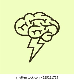 Brainstorm Minimalistic Flat Line Outline Stroke Icon Pictogram Symbol