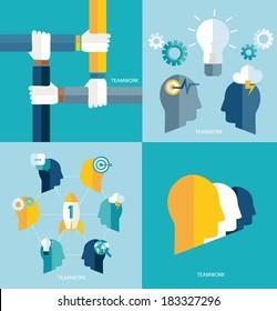 Brainstorm. Startup. Teamwork concept. Vector.   Brainstorming. Concept teamwork. Vector.
