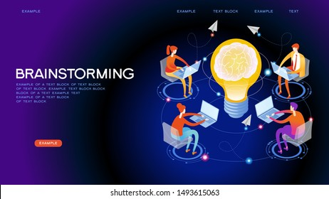 Brainstorm. Team in search of new solutions ideas. Internet assistant. Effective online promotion. Coordinated team work in the company. Remote Manager. Flat isometric vector illustration.