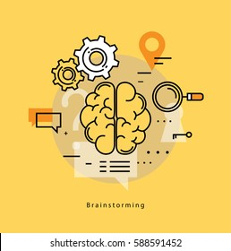 Brainstorming and analysis flat line business vector illustration design banner. Creative thinking, education, research, business idea concept. Design for learning, problem solving, trainings, courses