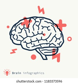 Brainstorming concept. Stylized human brains icon