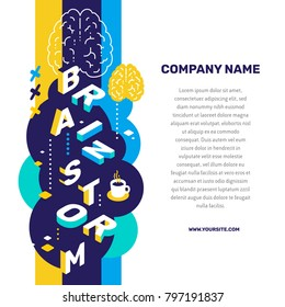 Brainstorming concept. Vector creative abstract illustration of 3d brainstorm word lettering typography with brain, decor element, text on color background. Isometric design for business promotion web
