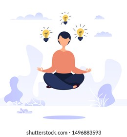 Brainstorming concept with woman in lotus position levitates with luminous bulbs in the air. Idea generation concept.