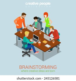 Brainstorming creative people flat 3d web isometric infographic concept vector. Advertising agency work process. Teamwork around table laptop, chief, art director, designer, programmer.