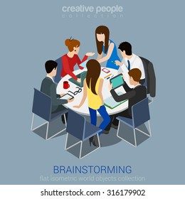Brainstorming creative team idea discussion people flat 3d web isometric infographic concept vector. Teamwork staff around table laptop chief art director designer programmer.