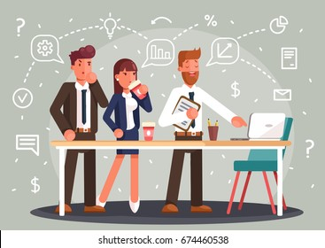 Brainstorming creative team idea discussion people. Teamwork staff around table laptop chief art director designer programmer. Flat style vector illustration