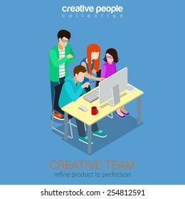 Brainstorming creative team people flat 3d web isometric infographic concept vector. Advertising agency work process. Teamwork around table laptop, chief, art director, designer, programmer.