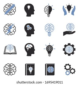 Brainstorming Icons. Two Tone Flat Design. Vector Illustration.