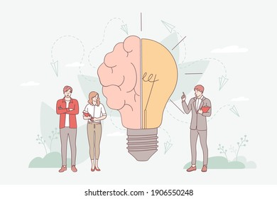 Brainstorming in imagination concept. Creative brain with innovative knowledge and genius approach to business and business people standing nearby vector illustration. Smart symbol as light bulb