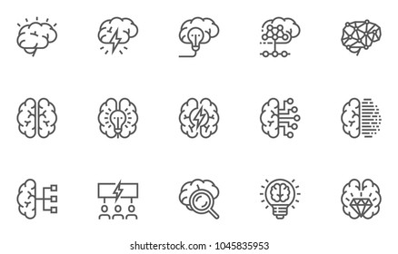 Brainstorming Line Icons Set. Brain, Creativity, Novel Idea. Editable Stroke. 48x48 Pixel Perfect.