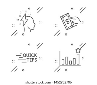 Brainstorming, Pay money and Education line icons set. Efficacy sign. Lightning bolt, Hold cash, Quick tips. Business chart. Education set. Line brainstorming outline icon. Vector